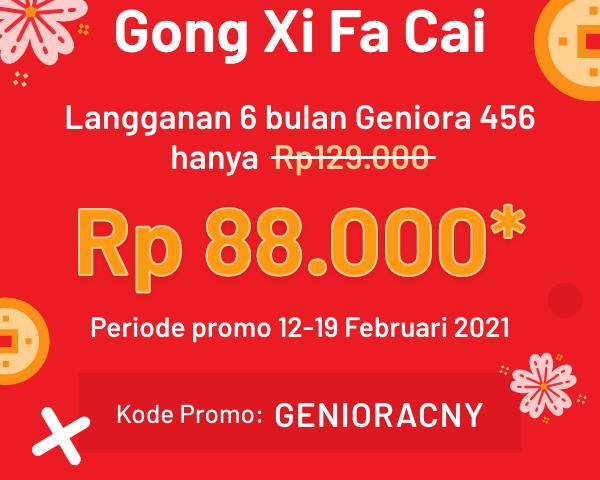 Aplikasi Geniora456: Promo Potongan Imlek Rp 88.000,-